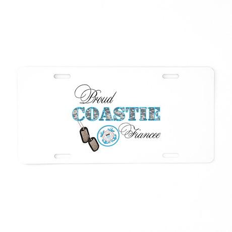 Proud Coast Guard Fiancee Aluminum License Plate