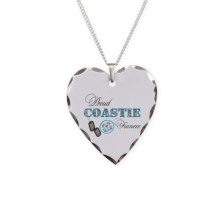 Proud Coast Guard Fiancee Necklace Heart Charm