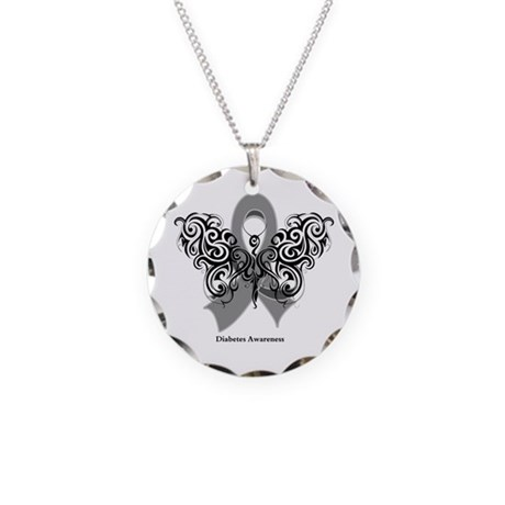 Diabetes Tribal Butterfly Necklace Circle Charm