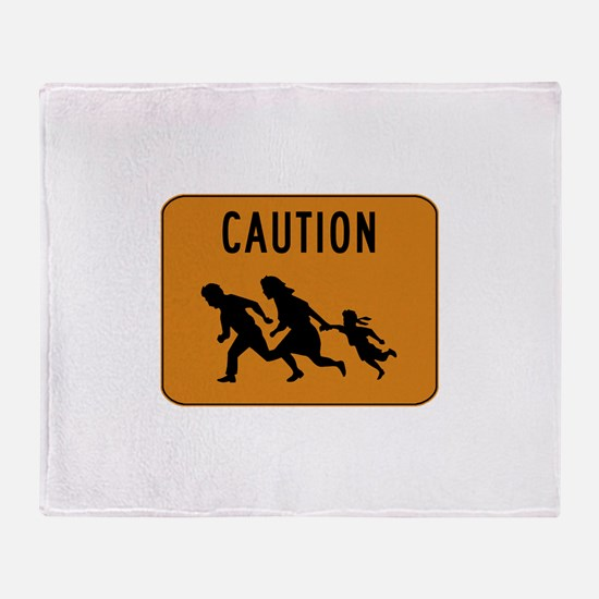 Immigrant Crossing Sign Throw Blanket