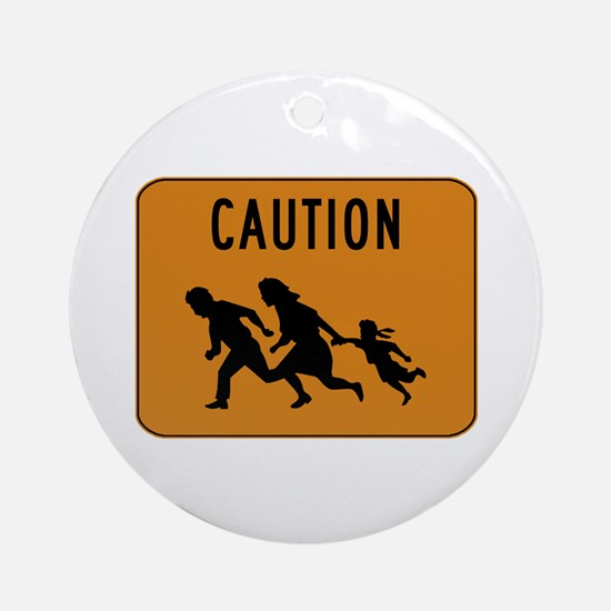 Immigrant Crossing Sign Ornament (Round)