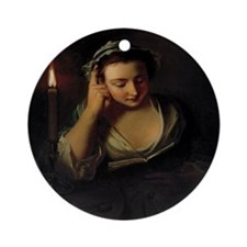 Girl Reading By Candlelight Ornament (Round)