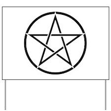 Star Pentacle Inside Circle Yard Sign