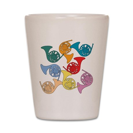 Colorful French Horns Shot Glass