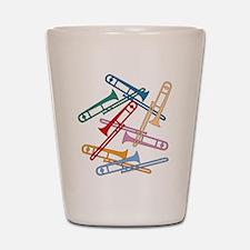 Colorful Trombones Shot Glass