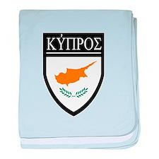 Cyprus Flag Patch (in Greek) baby blanket