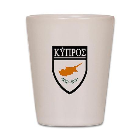 Cyprus Flag Patch (in Greek) Shot Glass