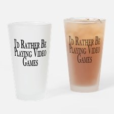Rather Play Video Games Pint Glass