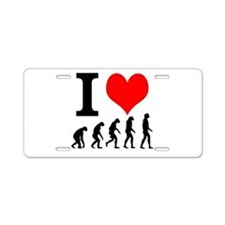 I Love Evolution Aluminum License Plate