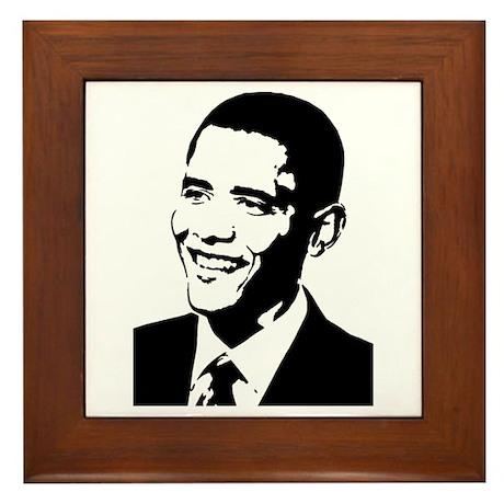Barack Obama Stencil Framed Tile