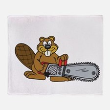 Chainsaw Beaver Throw Blanket