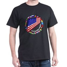 Circle of Flags Pro-Immigration Black T-Shirt