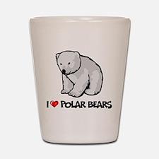 I Love Polar Bears Shot Glass
