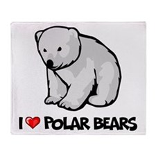 I Love Polar Bears Throw Blanket