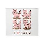 I Love Cats Throw Blanket