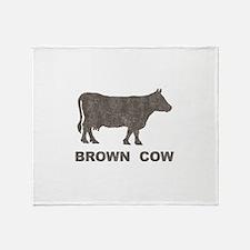Vintage Brown Cow Throw Blanket