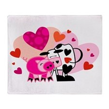 Cow & Pig In Love Throw Blanket