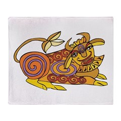 Colorful Tribal Cow Throw Blanket