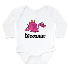 Pink Dinosaur Long Sleeve Infant Bodysuit