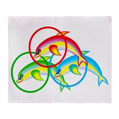 Colorful Dolphin Throw Blanket