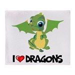 I Love Dragons Throw Blanket