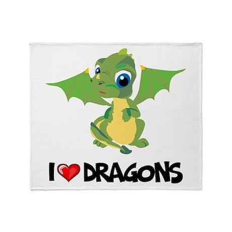 I Love Dragons Throw Blanket