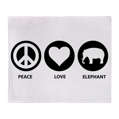 Peace Love Elephant Throw Blanket