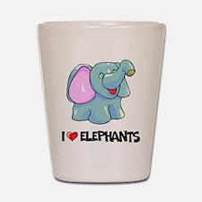 I Love Elephants Shot Glass
