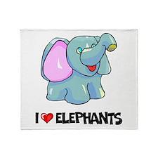 I Love Elephants Throw Blanket