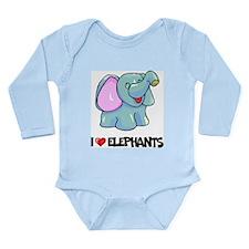 I Love Elephants Long Sleeve Infant Bodysuit