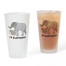 I Love Elephants Pint Glass