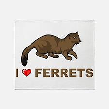 I Love Ferret Throw Blanket