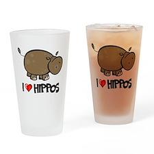 I Love Hippo Pint Glass