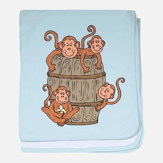 Barrel Monkey baby blanket