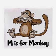 M is for Monkey Throw Blanket