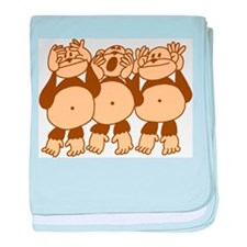 See No Evil Monkeys baby blanket