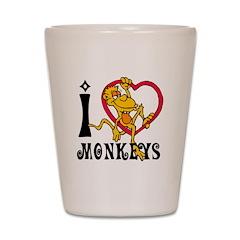 I Love Monkeys Shot Glass