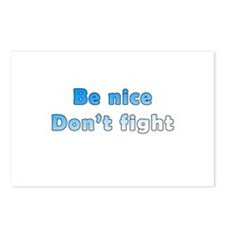 Be Nice. Don't Fight. Postcards (Package of 8)