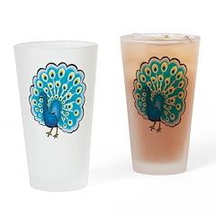 Blue Peacock Pint Glass