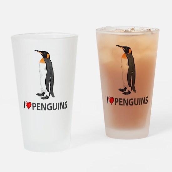 I Love Penguins Pint Glass