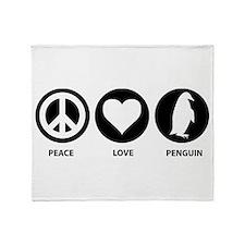 Peace Love Penguin Throw Blanket
