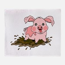 Naughty Pig Throw Blanket