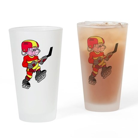 Ice Hockey Pig Pint Glass