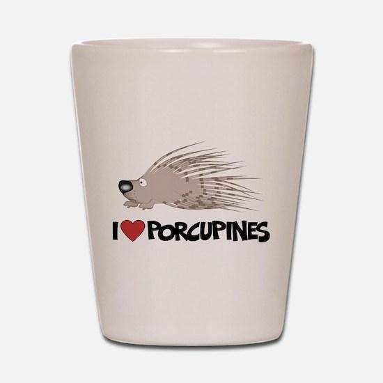 I Love Porcupine Shot Glass