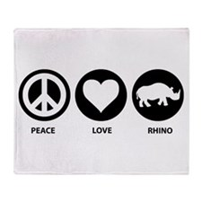 Peace Love Rhino Throw Blanket