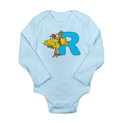 R For Rooster Long Sleeve Infant Bodysuit