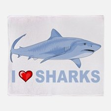 I Love Sharks Throw Blanket