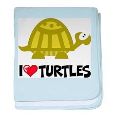 I Love Turtles baby blanket