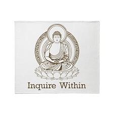 Vintage Buddha Inquire Within Throw Blanket