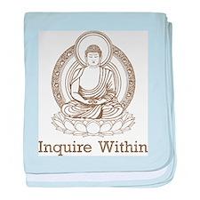 Vintage Buddha Inquire Within baby blanket